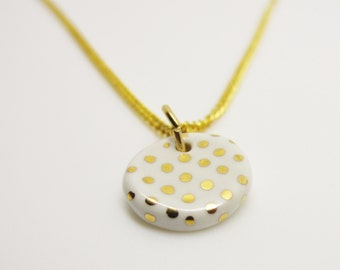 Metallic Gold Polka Dot Small Circle Necklace Glazed Ceramic Porcelain on an 18 inch Gold Chain