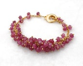 Supreme Pink Sapphire Feminine Focal Cluster Bracelet in gold...
