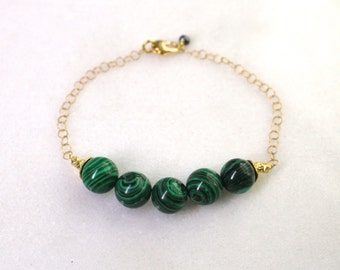 Little Luxe Demi Gemstone Bracelet with Malachite in gold...