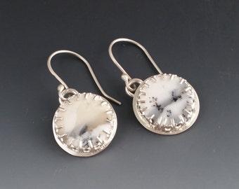 Rustic Boho Dendritic Opal Sterling Silver Earrings