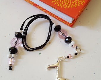 Beaded Bookmark Music Note/ Pink And Black Glass Beaded Cord With Metal Charm/ Handmade Book Thong/ Journal Marker/ Book Lover Gift