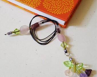 Beaded Bookmark Floral Bouquet/ Pink And Purple Handmade Flowers/ Glass Beaded Cord With Flower Charms/ Book Thong/ Journal Marker/ Readers