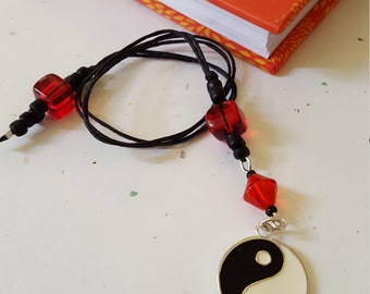 Yin And Yang Beaded Bookmark/ Black And Red / Glass Beaded Cord With Metal Charm/ Handmade Book Thong/ Journal Marker/ Book Lover/ Readers