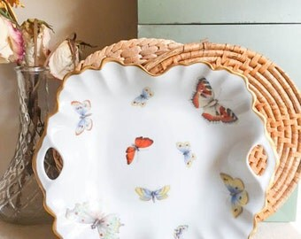 Sweet Vintage 60s 70s Made in France Limoges Butterfly Monarch Serving Tray Plate