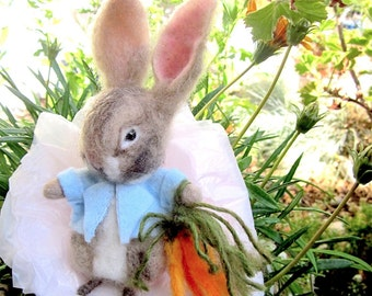 Needle Felted Bunny Rabbit Doll/ Heirloom Collectible Art Doll/ It's Peter!