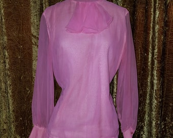 Vintage 1960's Pink Sheer Blouse High Collar Ruffle Top M/L