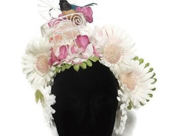 Birdcage Floral Headdress