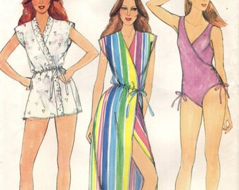 Butterick 3902 Vintage Mock Wrap Swimsuit and Coverups Size 14 Bust 36