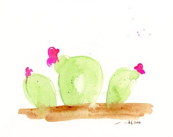 "Original watercolor painting of light green cactus with hot pink flowers: ""Desert Blooms No. 2"""
