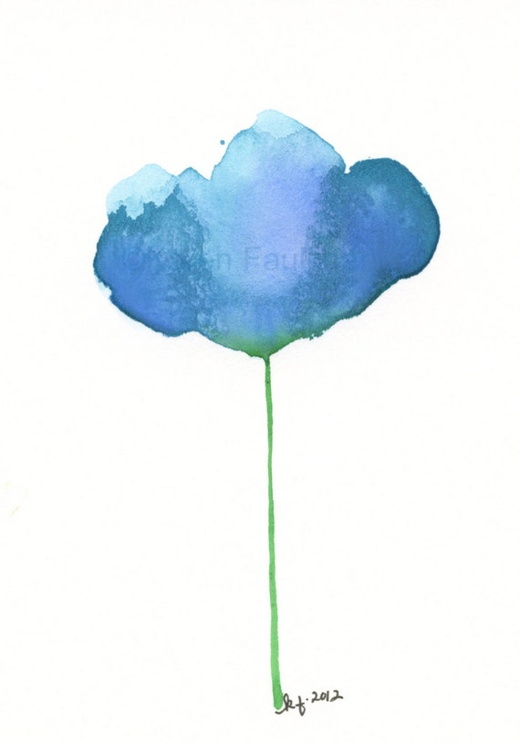 "Watercolor flower art print of an abstract blue flower:  ""Blue Skies"""