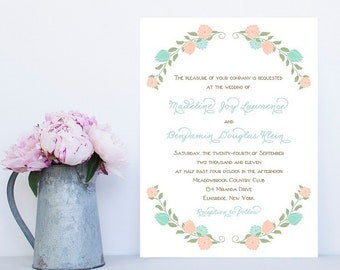 Garden Wedding Invitations - Flower Border Wedding Invitation