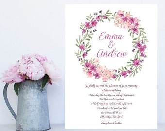 Watercolor Wedding Invitation - Wedding Invitations, Floral, Wreath Invitation