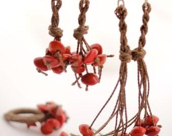 Eco Friendly Red Seed Earrings