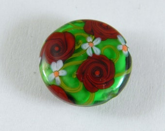 GMD lampwork glass bead Red Roses on Emerald green coin orrb