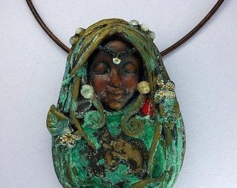 Clay Goddess Necklace - Squirrel Totem Necklace - Squirrel Spirit Necklace - Animal Totem Necklace - Shaman Necklace - Animal Medicine
