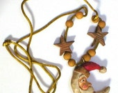 Santa Claus necklace, Olde World Santa pendant, folk art style necklace, jewelry, stocking stuffer, Christmas gift office gift, holiday wear