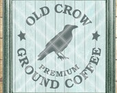 Halloween Fall SVG Cut File - Crow SVG - Old Crow Ground Coffee SVG  - Digital svg, dfx, png and jpg files available for instant download