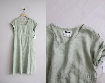 Flax linen dress | mint green dress | linen maxi dress