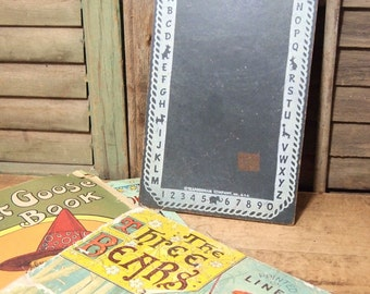 Free Shipping Vintage small Chalk Board Letters Numbers, School practice, nursery Transo Slate by  Transogram Company