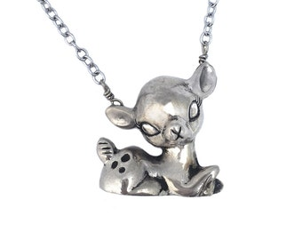 Deer Necklace       fawn bambi silver gold jewelry cute kitsch kawaii small sitting