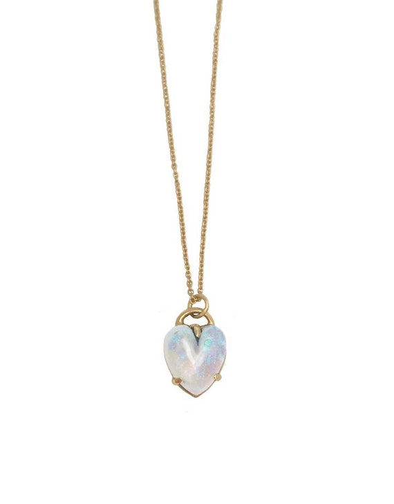 HEART NECKLACE OPAL gold silver onyx turquoise