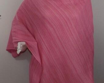Handmade Knit Poncho - Pink Random Stripes