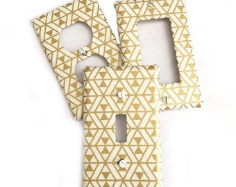 Fabric Covered Light Switch Plate Cover - Gold Art Deco Print - All Styles - Double, Triple, GFCI, Outlet, Slider, Rocker, Toggle