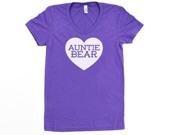 Auntie Bear w/ Heart TriBlend Heather Orchid Purple TShirt w/ White Print - Family Photos, Gift for Her, Announcement, New Baby, New Aunt