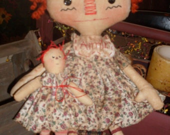 Primitive Raggedy Ann style 17in Attic Annie & 10in Dolly E-pattern Faap Hafair