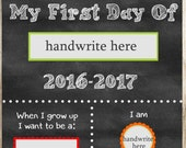 First Day Of School Sign. Printable. Instant Download. Any Grade. 2016. 2017. Fill in the Blanks. Chalkboard Printable. Primary Colors. SALE