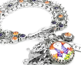 Ghost Bracelet, Ghost Jewelry, Halloween Crystal Bracelet, Purple and Orange Bracelet