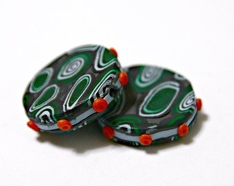 Pair of Handmade Artisan Polymer Clay Beads in Greens and Blues on Gray with Orange Dots Fun and Quirky