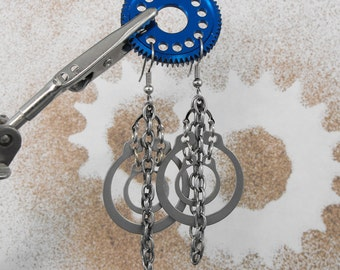 Concentric Hoops Industrial Steampunk Chain Dangle Earrings  - The Solid Chain of Life by COGnitive Creations