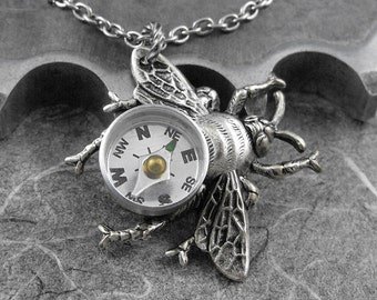 Steampunk Compass Bee Silver Necklace - Flight of the Travelling Bumblebee by COGnitive Creations