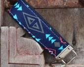 READY TO SHIP-Beautiful Key Fob/Keychain/Wristlet-Tribal On Navy-2