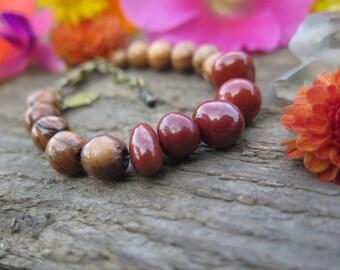Red Jasper and Wood Gemstone Bracelet - Good Vibes - Energy Crystal Jewelry Hamsa - Earthy Yoga Yogi - Funky Boho Jewels - Simple Mala Style