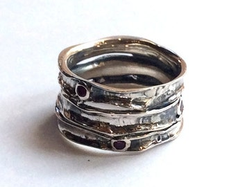 Silver ring, multi stones ring, rubies band, wide silver ring, ruby ring, oxidized band, stacking bands - Rolling stones. R1020S