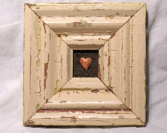 Be Still, My Heart - Heart Art - Original Mixed Media Assemblage - Architectural Salvage Wood Collage - Heart Wall Art - Wedding Art