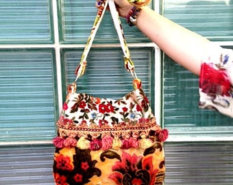 Summer Floral Velvet Boho Bag With pinks, Greens And Orange