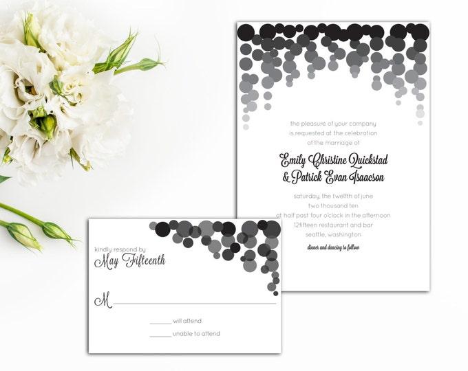 Falling Confetti Wedding Invitation, New Year Wedding Invite, Celebration Invitation, Wedding Response Card, Celebrate Wedding, Invitations
