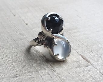 Marchesa Ring- Black Onyx and White Moonstone in Sterling