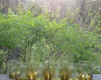 Nine Vintage Beverage Glasses - Gold Thumb Print