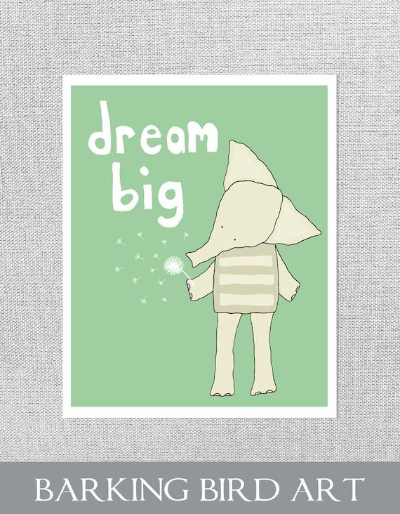 Elephant Nursery Art, Elephant Nursery Decor, Dream Big Print, Nursery Quote, Elephant Baby Art, Green Nursery Art, Elephant Baby Decor