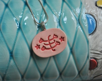 The Greatest Name--- handmade pottery pendant necklace in Peach and Red