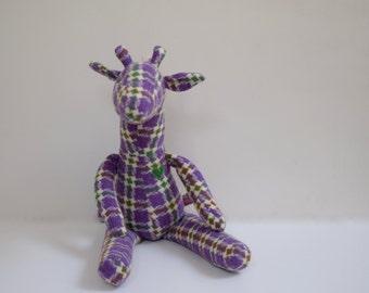 Stuffed Giraffe doll Eco friendly Vintage wool fabric unisex plaid soft fabric toy upcycled sweet Heirloom gift idea bubynoa Best Friend