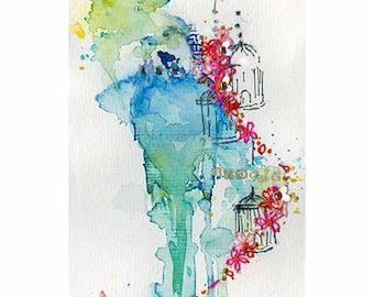 Budgie Art Print. Budgerigar Art. Watercolor Budgie Print. Pet Bird Print. Budgies Wall Art. Budgie Parakeet.
