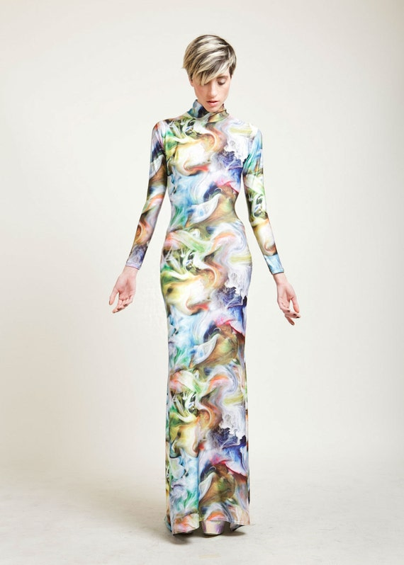 SALE Liquid Smoke Multicolored Long Sleeved Swan Necked Maxi Gown with Train