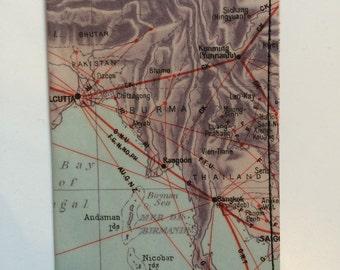 Slim Wallet- Vintage Map of India, Thailand