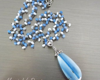 Blue Lace Agate-Blue Chalcedony-White Agate-Oxidized Silver Pendant Necklace