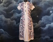 Vintage 1930s Art Deco Printed White Linen Day Dress - Size M/L